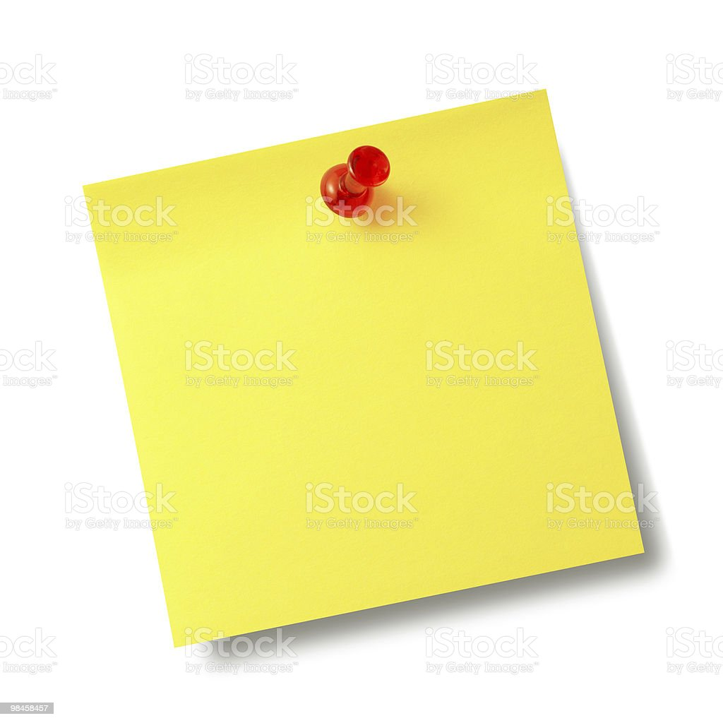Yellow reminder note with red pin. royalty-free stock photo