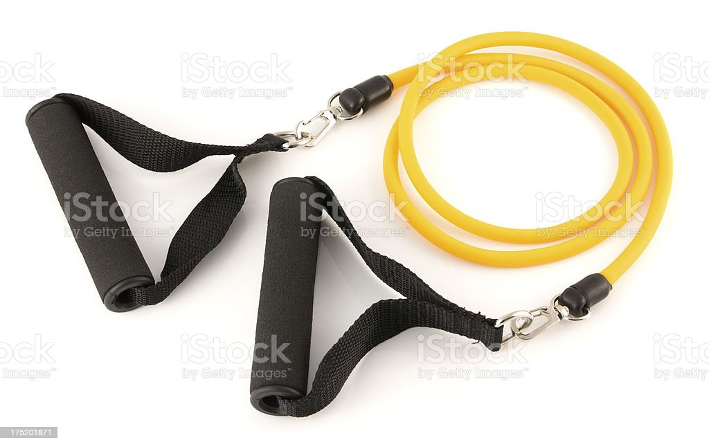 Yellow resistance exercise band for fitness on a white background royalty-free stock photo