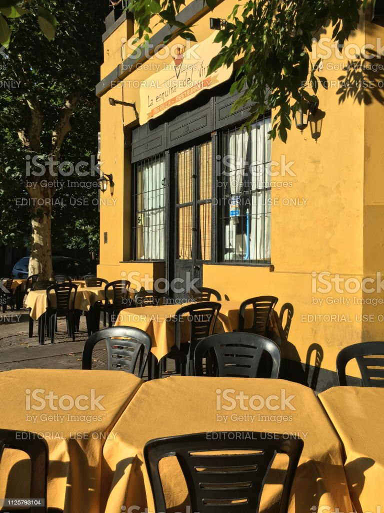 Yellow Restaurant In Street Corner Stock Photo Download Image Now Istock