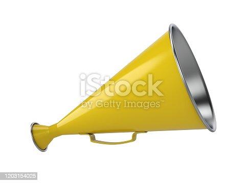 istock Yellow Retro Hand Loudspeaker Side View 1203154025