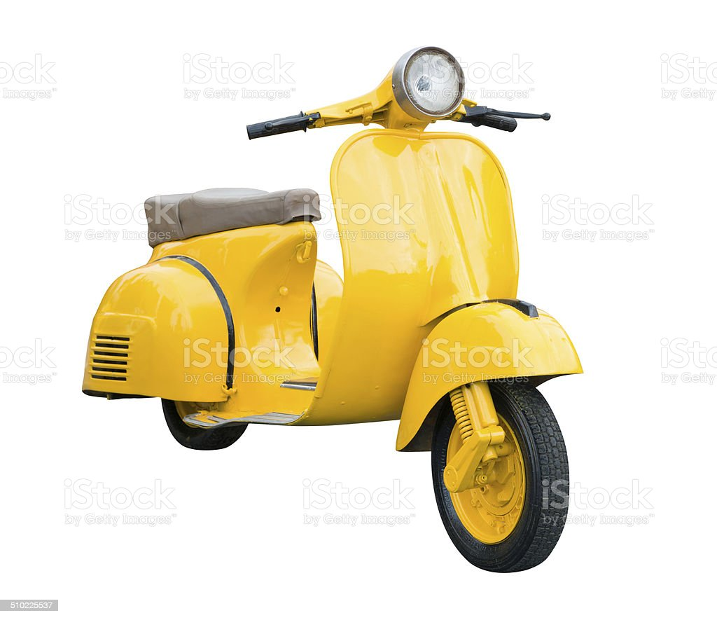 Yellow Retro Motorcycle isolated on white stock photo