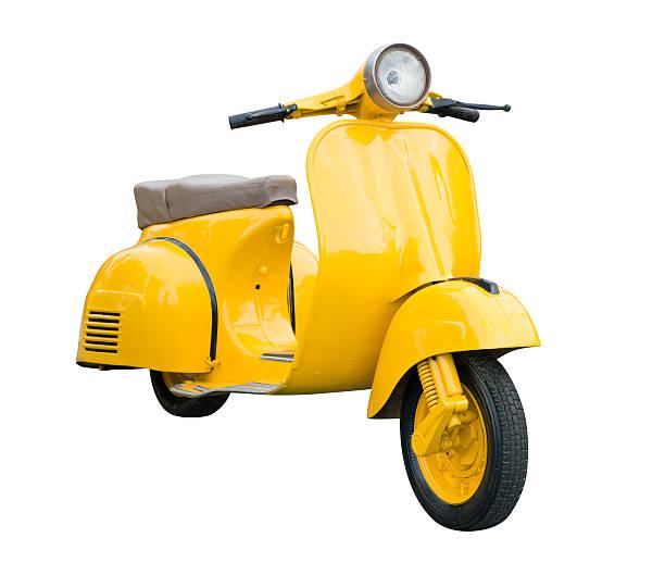 amarillo retro motorcycle aislado en blanco - vintage vespa fotografías e imágenes de stock