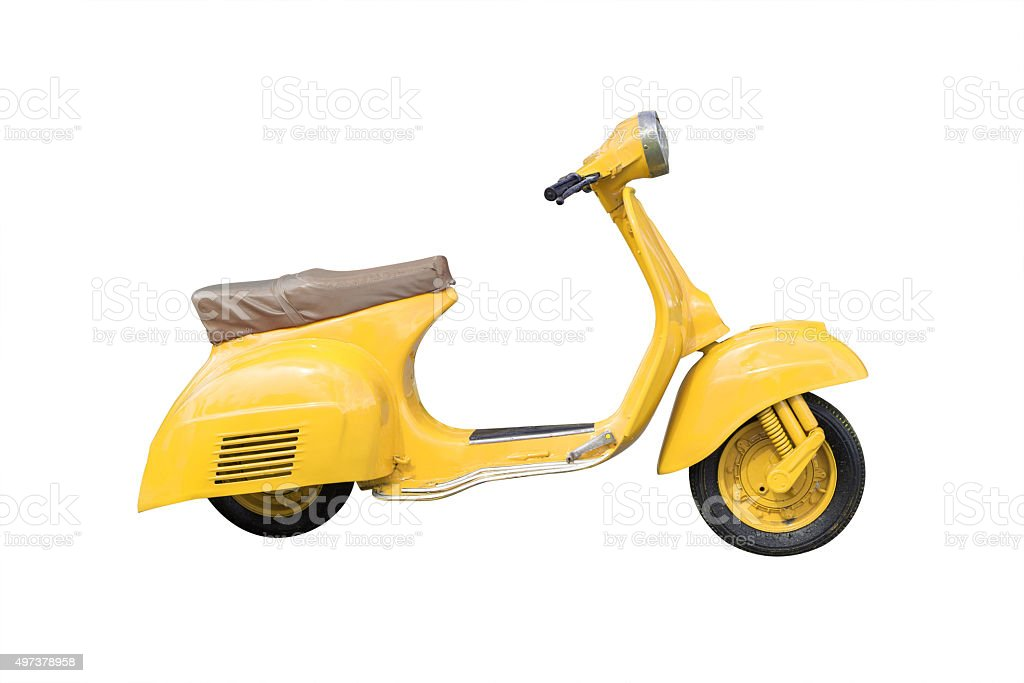 Yellow Retro Motorcycle isolated on white with clipping path stock photo