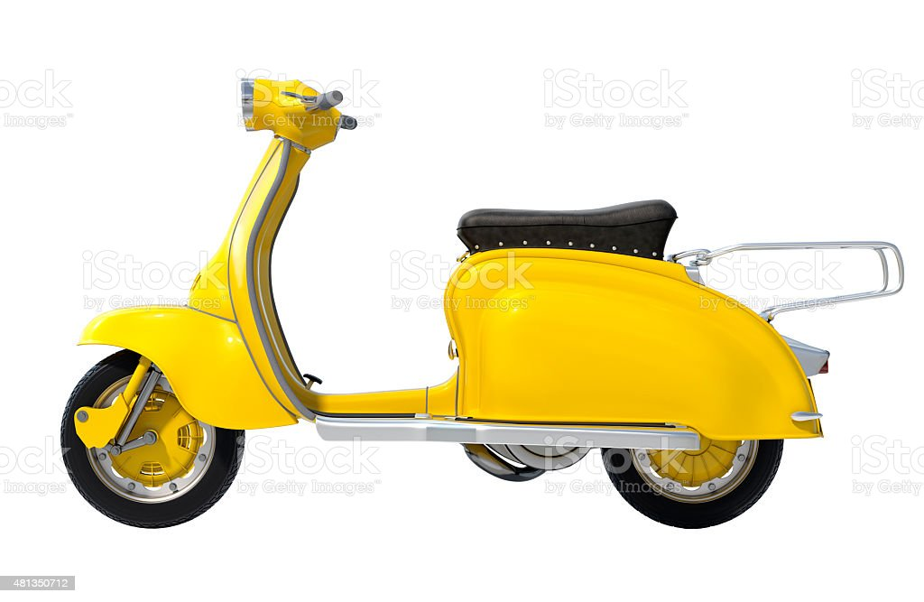 Yellow Retro Scooter stock photo