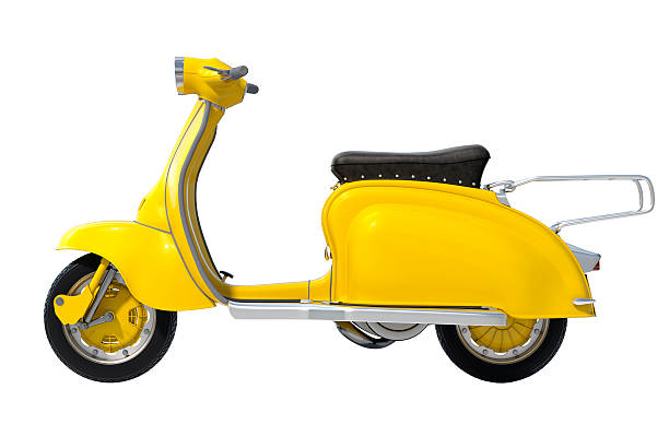 Yellow Retro Scooter stock photo