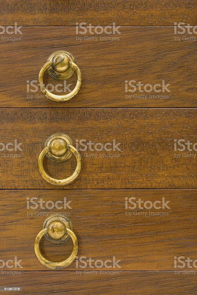 Yellow rings on wooden boxes royalty-free stock photo