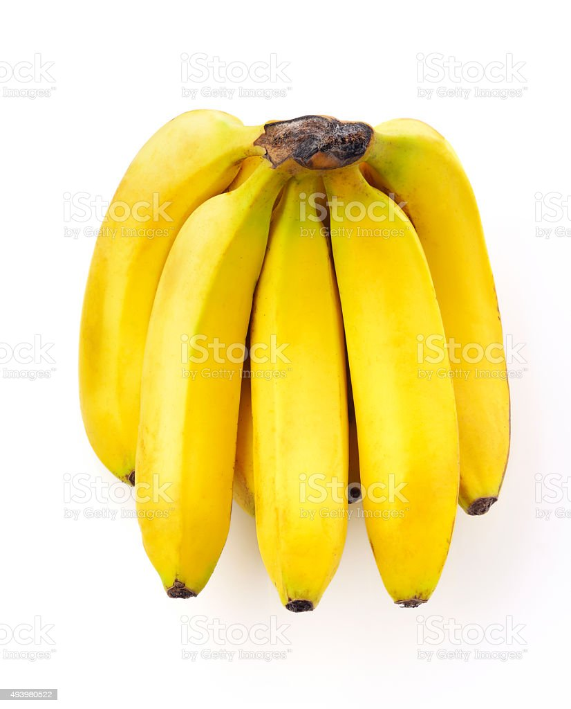 Yellow Ripe Bananas On White Background stock photo