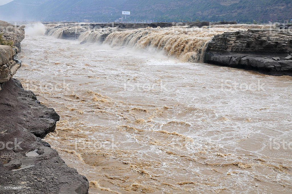 Yellow River and Hukou waterfalls stock photo
