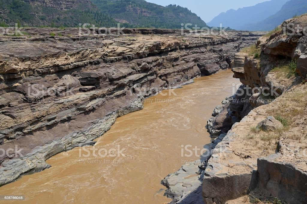 Yellow river at Hukou waterfall, Shaanxi, China stock photo