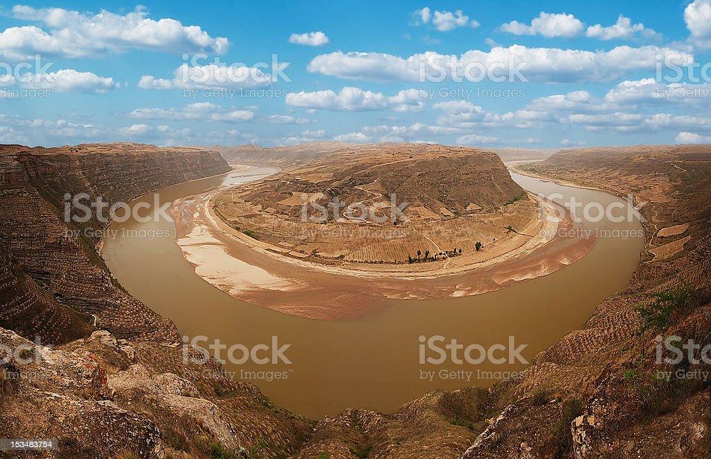 Yellow River, Horseshoe Bend,Valleys royalty-free stock photo