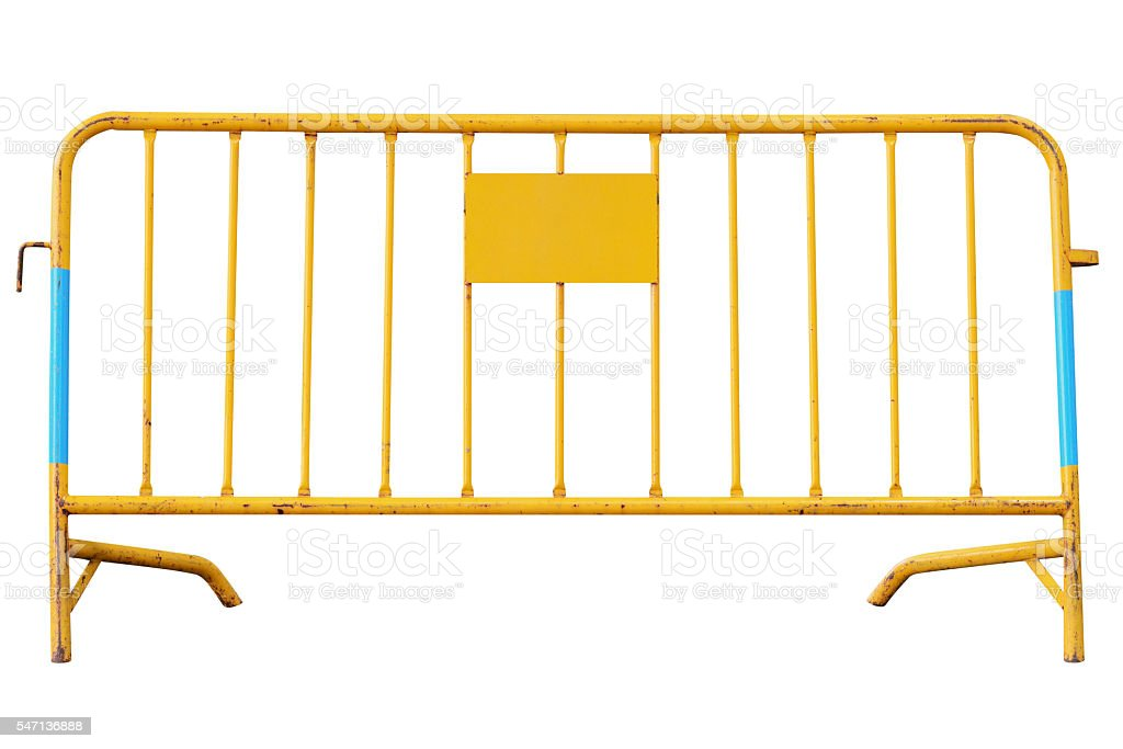 yellow road security barrier isolated on white background stock photo