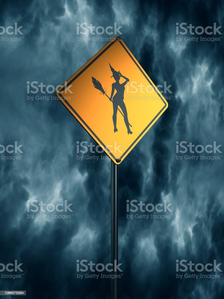 Yellow road sign. Halloween stock photo