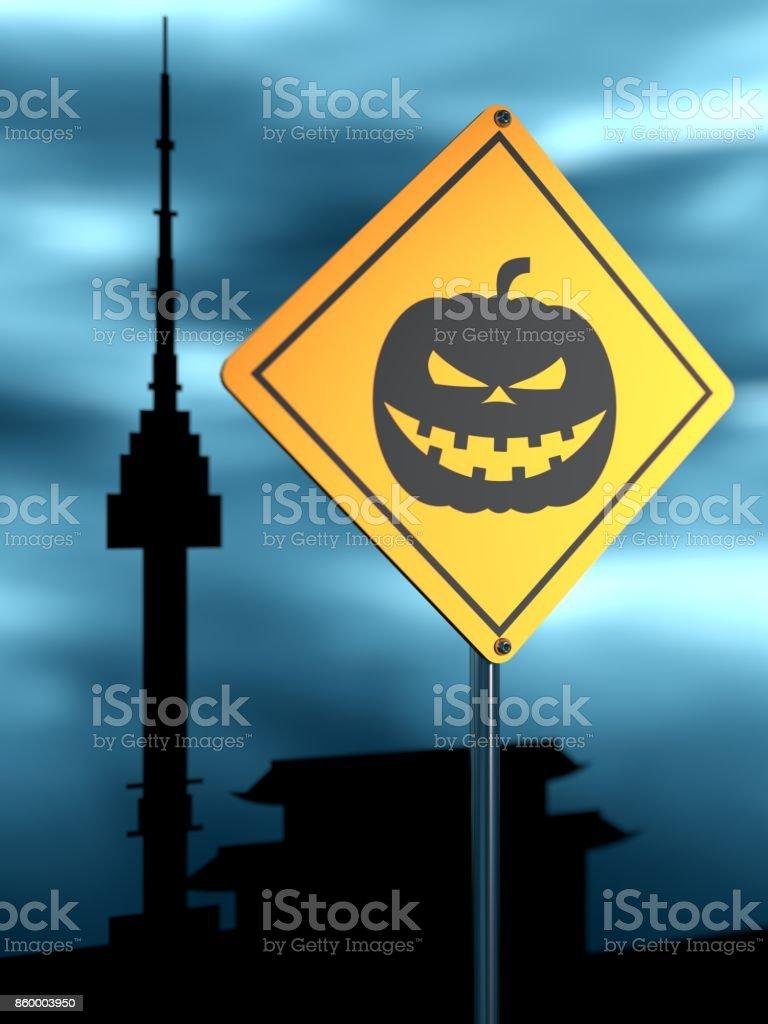 Yellow road sign. Halloween stock photo