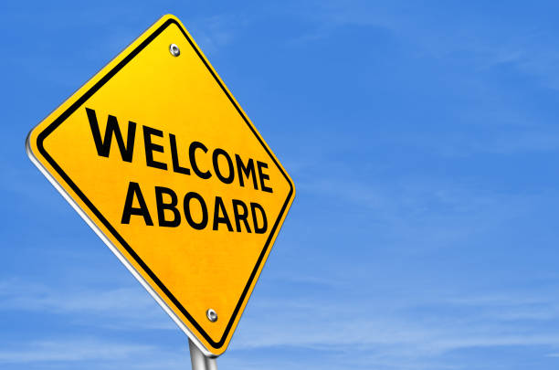 WELCOME ABOARD - yellow road sign information WELCOME ABOARD - yellow road sign information aboard stock pictures, royalty-free photos & images
