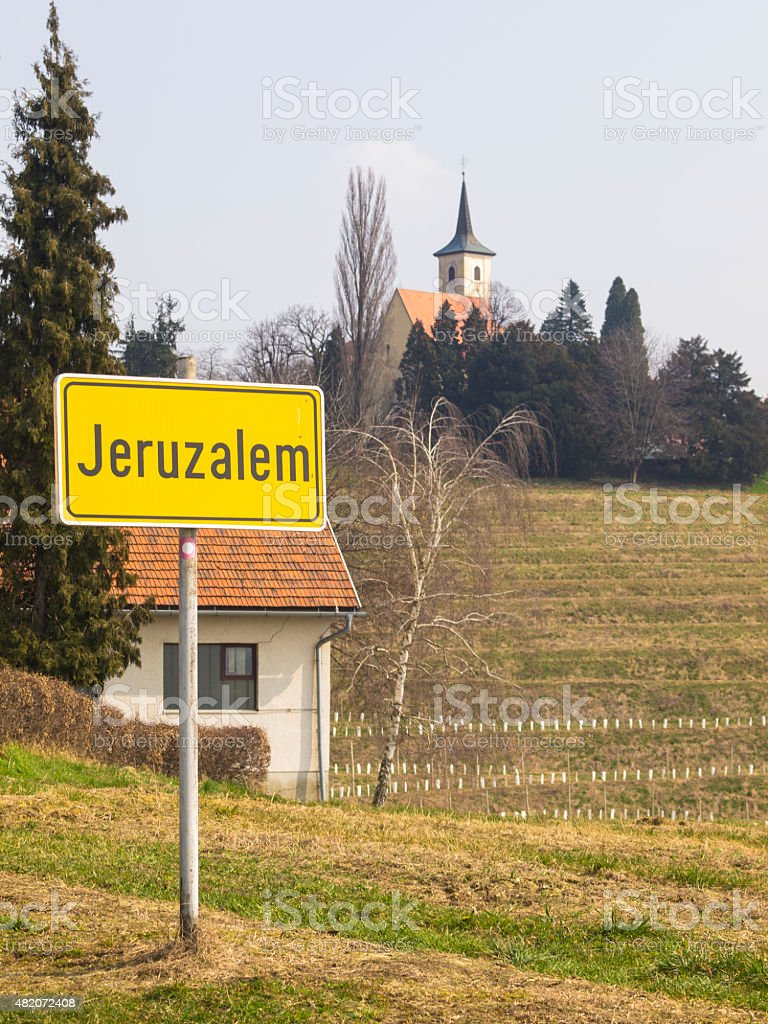 Yellow Road Sign, Jeruzalem, Slovenia stock photo