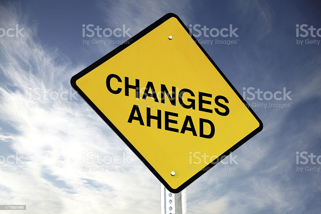 Yellow road sign saying changes ahead against sky background royalty-free stock photo