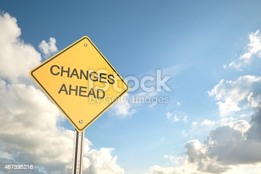 Changes Ahead , Road Warning Sign , 3d render