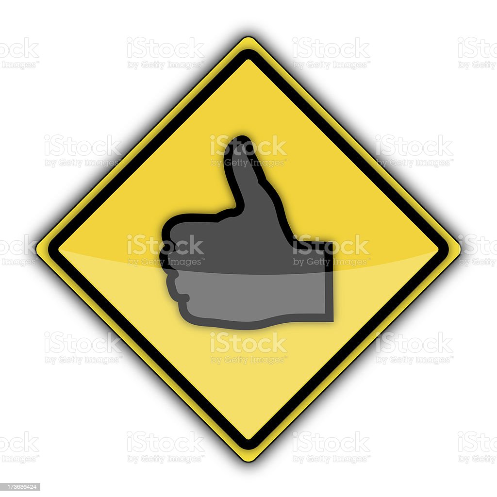 Yellow Road Sign | Thumbs Up royalty-free stock photo