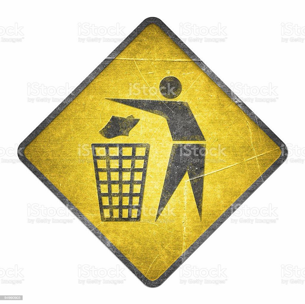 Yellow road sign - Trash bin royalty-free stock photo