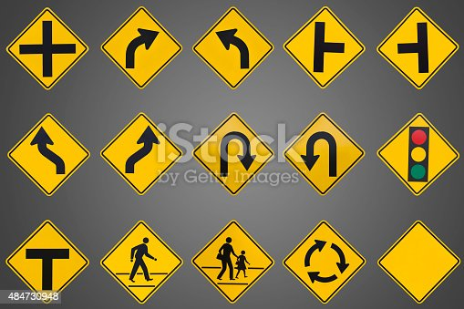 yellow road signs, traffic signs set on grey background