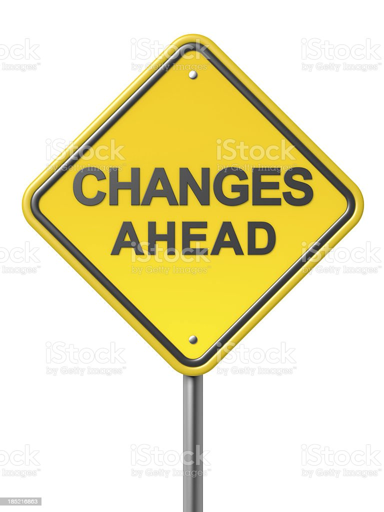 Yellow road warning sign saying changes ahead  stock photo