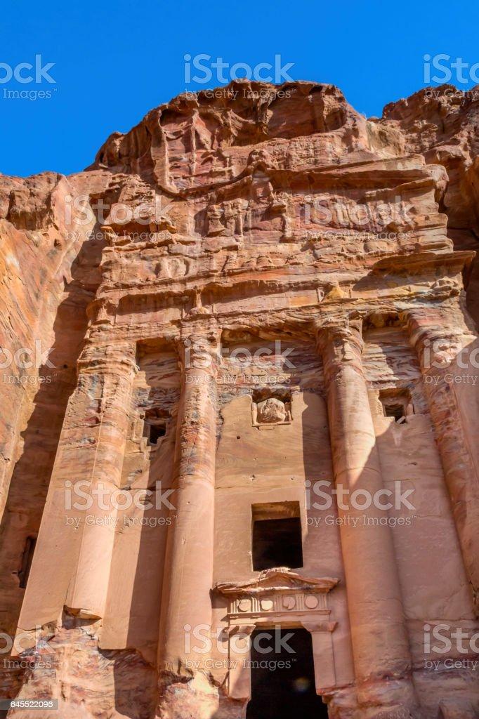 Yellow Rock Tombs Morning Street of Facades Petra Jordan stock photo
