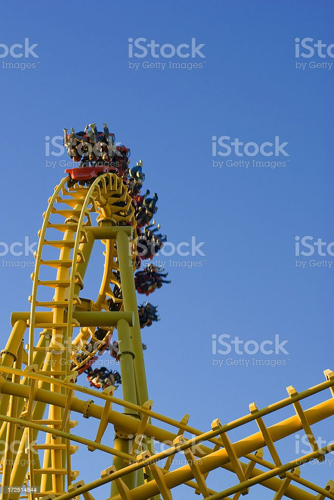 Yellow Rollercoaster 10 royalty-free stock photo