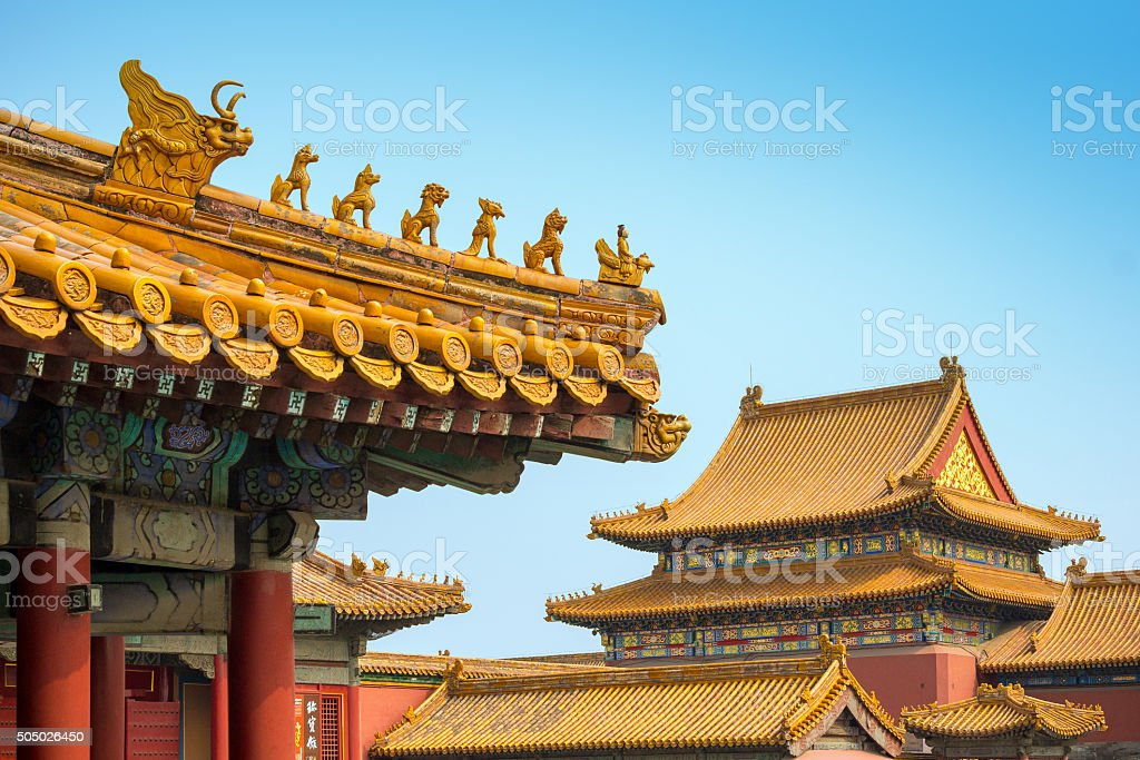Yellow roofs and ridge turrets at Forbidden City, Beijing stock photo