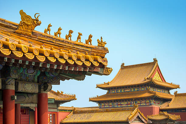 Yellow roofs and ridge turrets at Forbidden City, Beijing Typical yellow roofs at the palace of the Emperor of China. forbidden city stock pictures, royalty-free photos & images