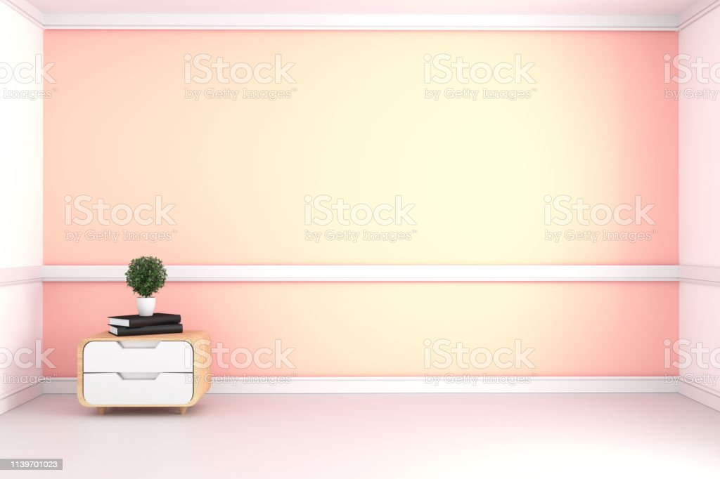 Yellow room - Beautiful room, Empty room , Modern bright interior. 3D...