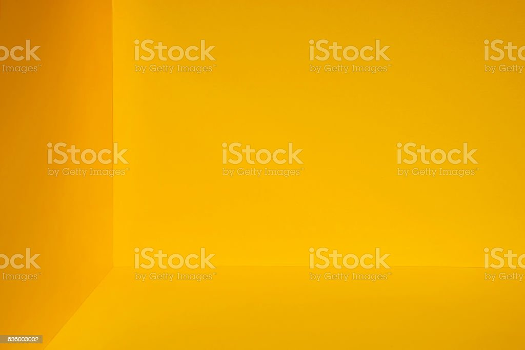 Yellow room corner stock photo