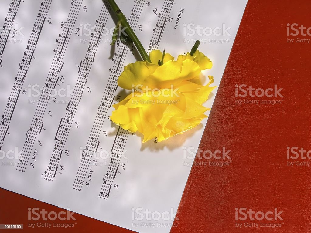 Yellow Rose and Sheet Music royalty-free stock photo