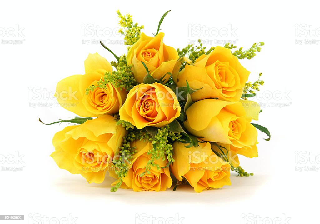 Yellow rose bouquet isolated on white, front view royalty-free stock photo