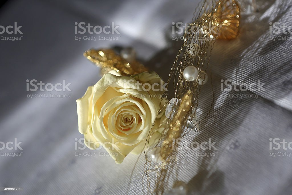 Yellow rose boutonniere for the groom stock photo