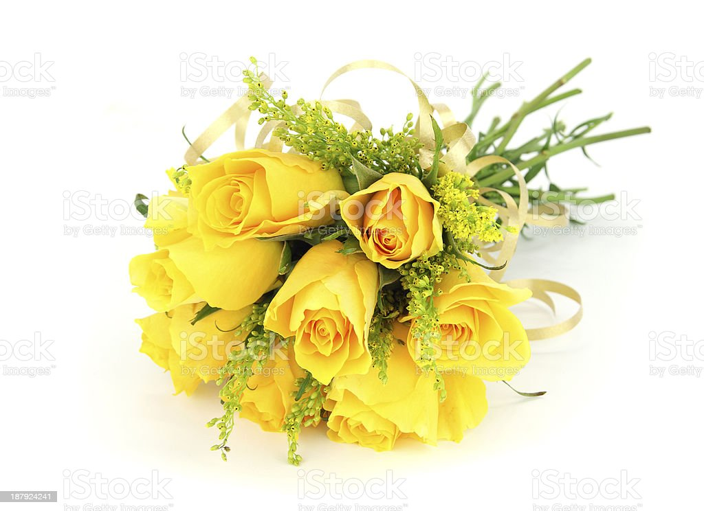Yellow Rose Wedding Bridal Bouquet Or Posy Flower Arrangement Stock