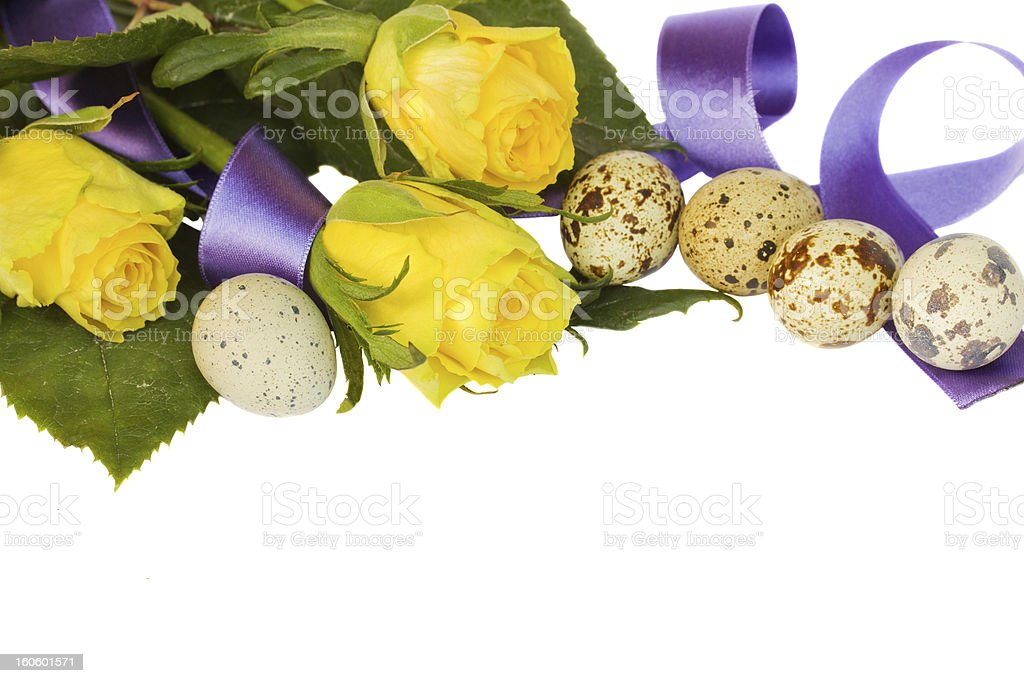 yellow roses with quail eggs and ribbon royalty-free stock photo