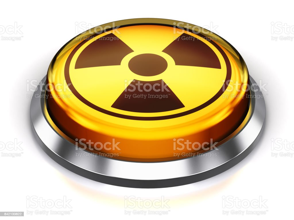 Yellow round nuke button with nuclear radiation symbol stock photo