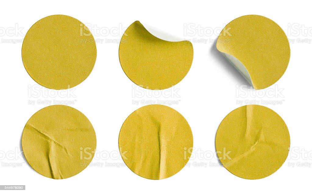 Yellow Round Stickers stock photo