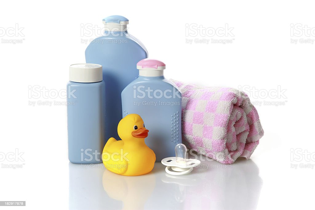 Yellow rubber duck in bathroom stock photo
