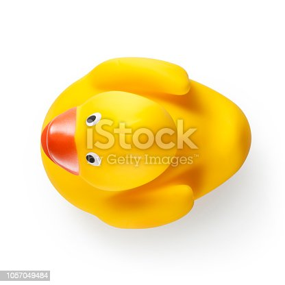 Yellow rubber duck on white background.