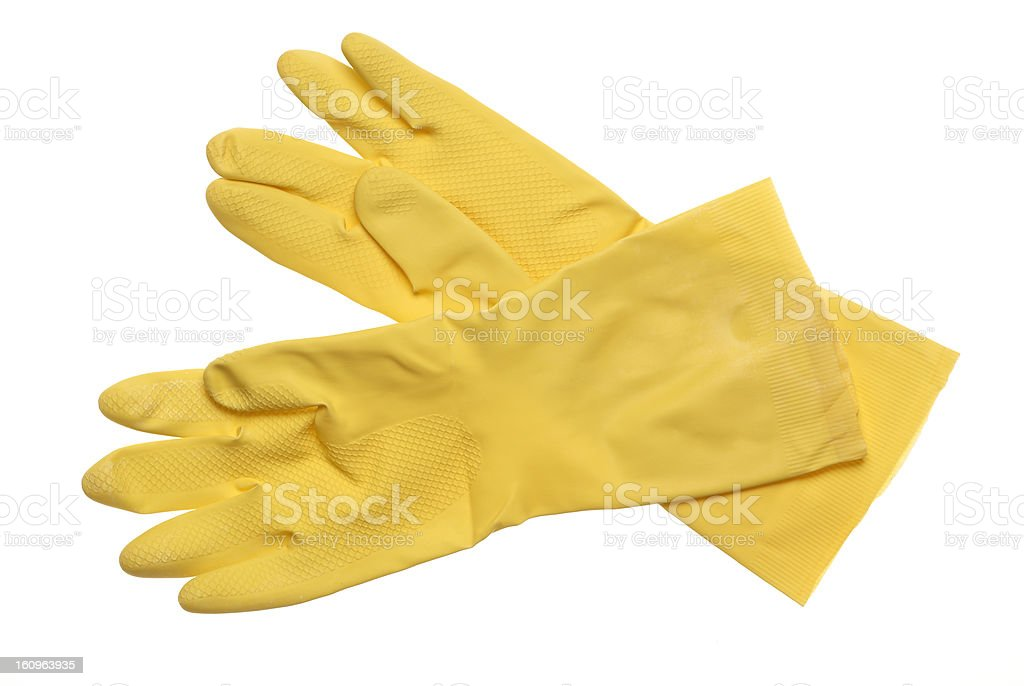 Yellow rubber gloves isolated on white stock photo