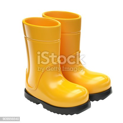 istock Yellow rubber rain boot isolated on white background 3d rendering 909956540