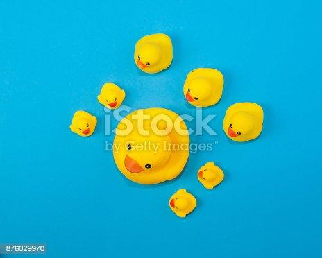istock Yellow rubble duck algin on blue background 876029970