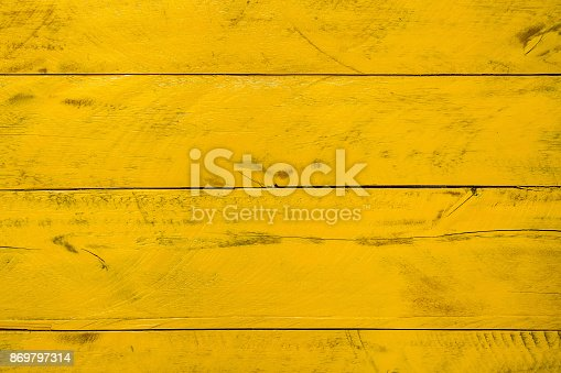 istock Yellow rugged wooden background, with straight horizontal lines, texture and pattern 869797314