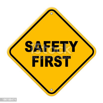 istock Yellow safety first road sign with rivets 186188474