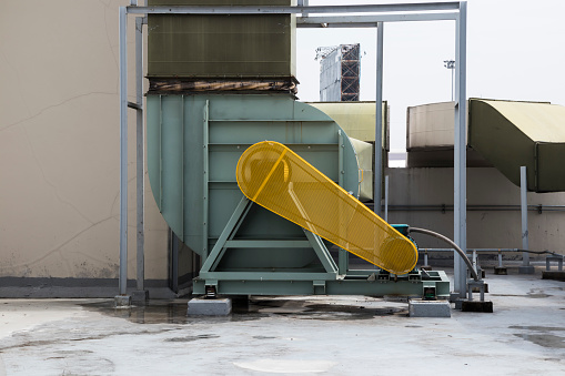 Yellow Safety Guard Motor Of Air Blower Stock Photo Download Image Now Istock