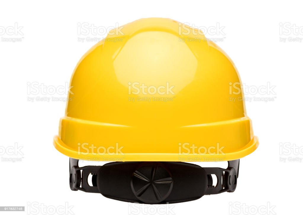 Yellow safety helmet isolated on white background rear view stock photo