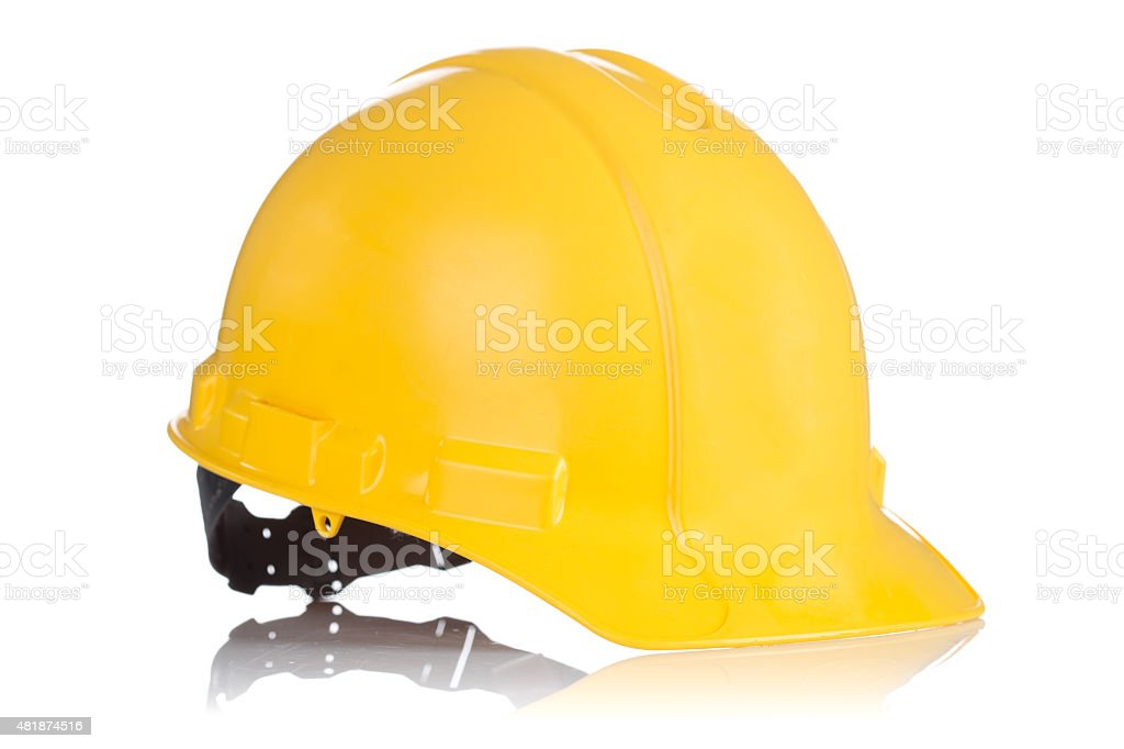 Yellow Safety helmet isolated on white stock photo