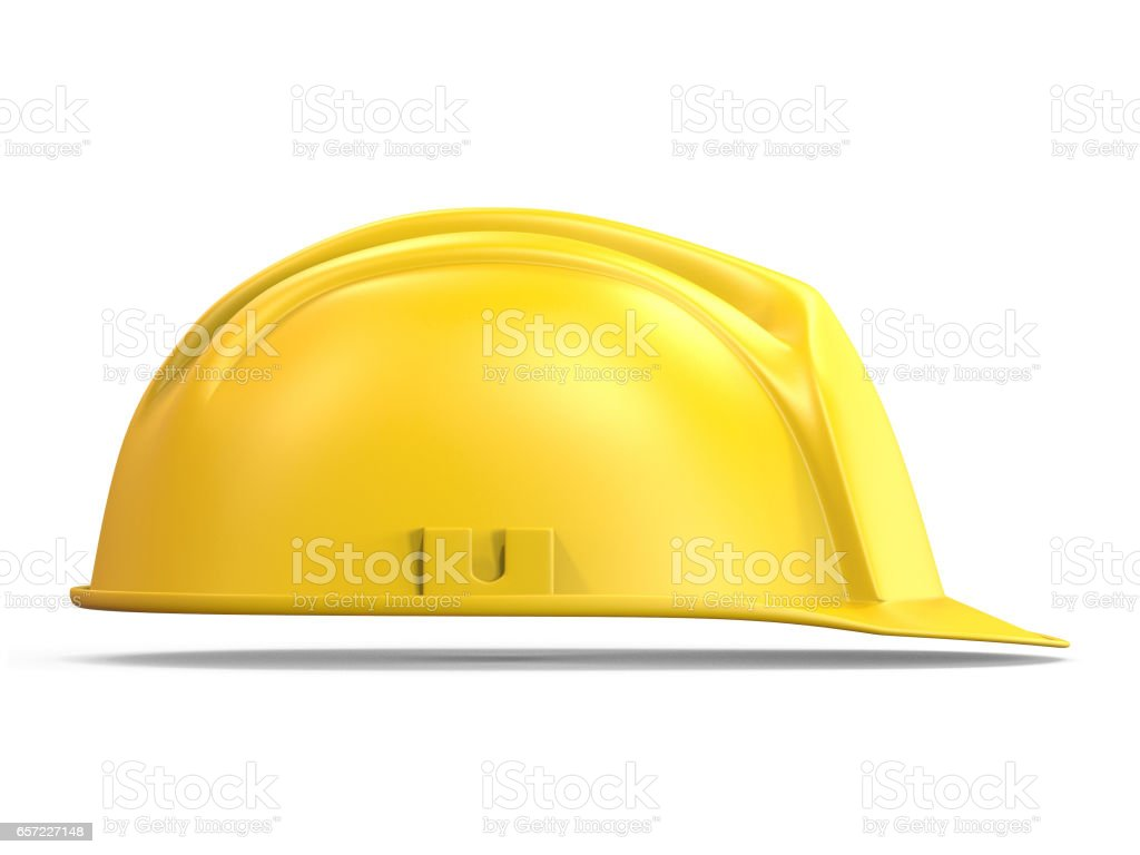 Yellow safety helmet side view 3D stock photo