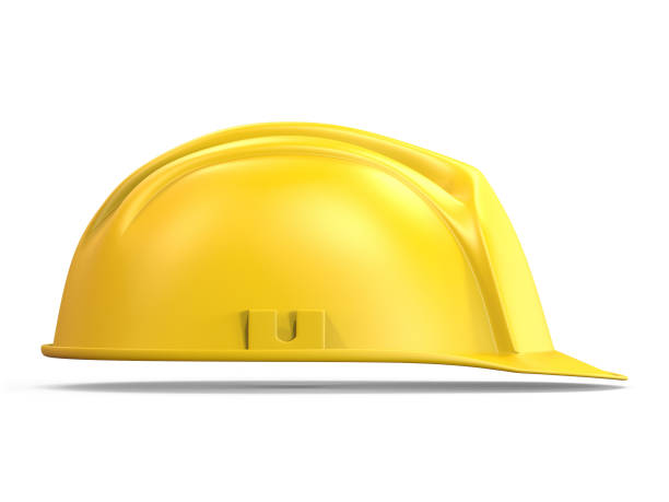 yellow safety helmet side view 3d - under construction icon foto e immagini stock